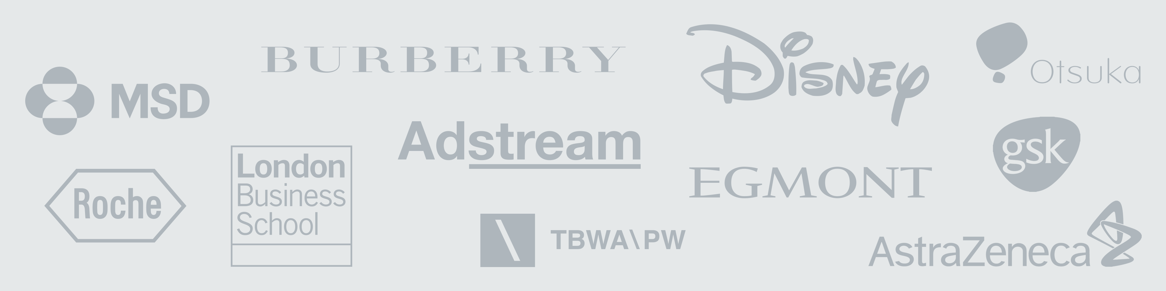 Corporate Portfolio Logos: MSD, Burberry, Disney, Otsuka, Roche, London Business School, Adstream, Egmont, GSK, TBWA\Paling Walters, Astrazeneca