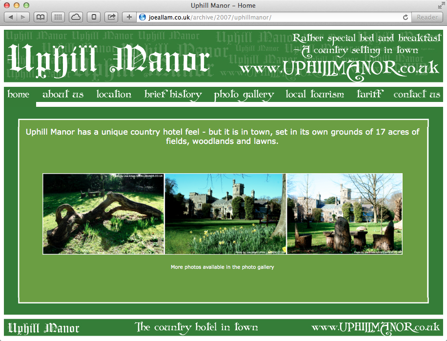 Uphill Manor original site design