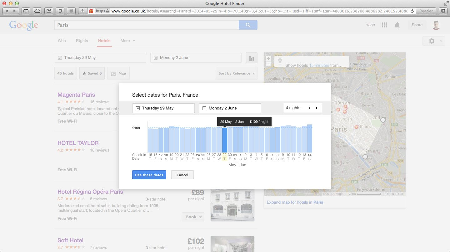 A masterclass in great ux google hotel finder joe allam for Google hotes