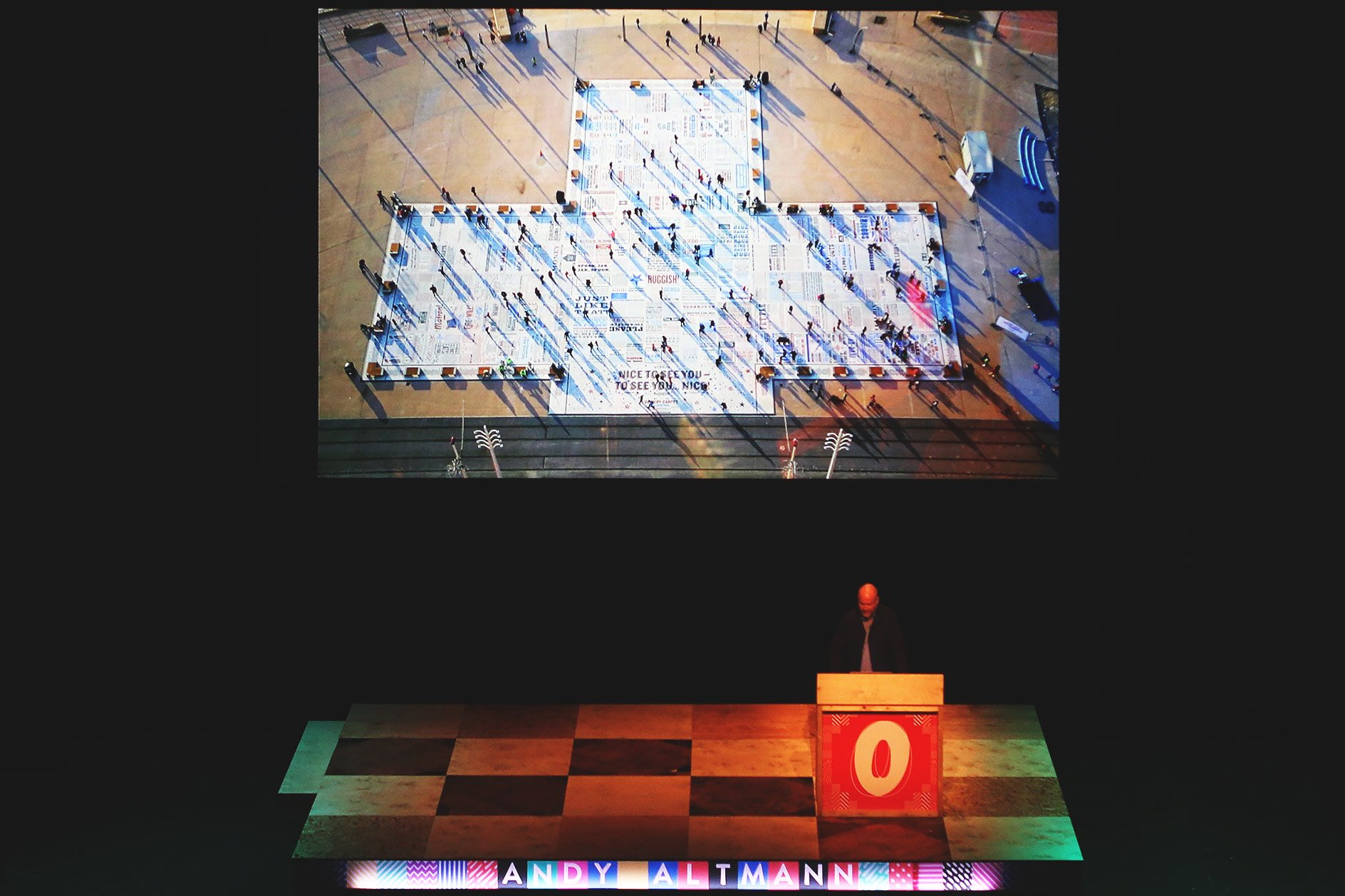 Andy Altmann at OFFSET 2015 – comedy carpet aerial