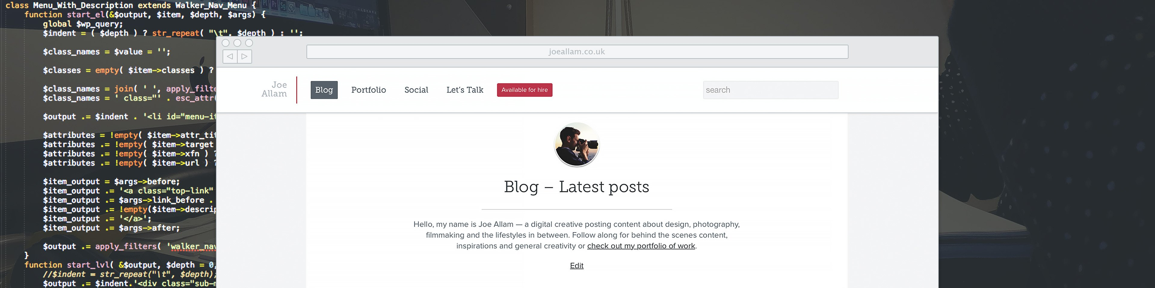 joeallam.co.uk redesign