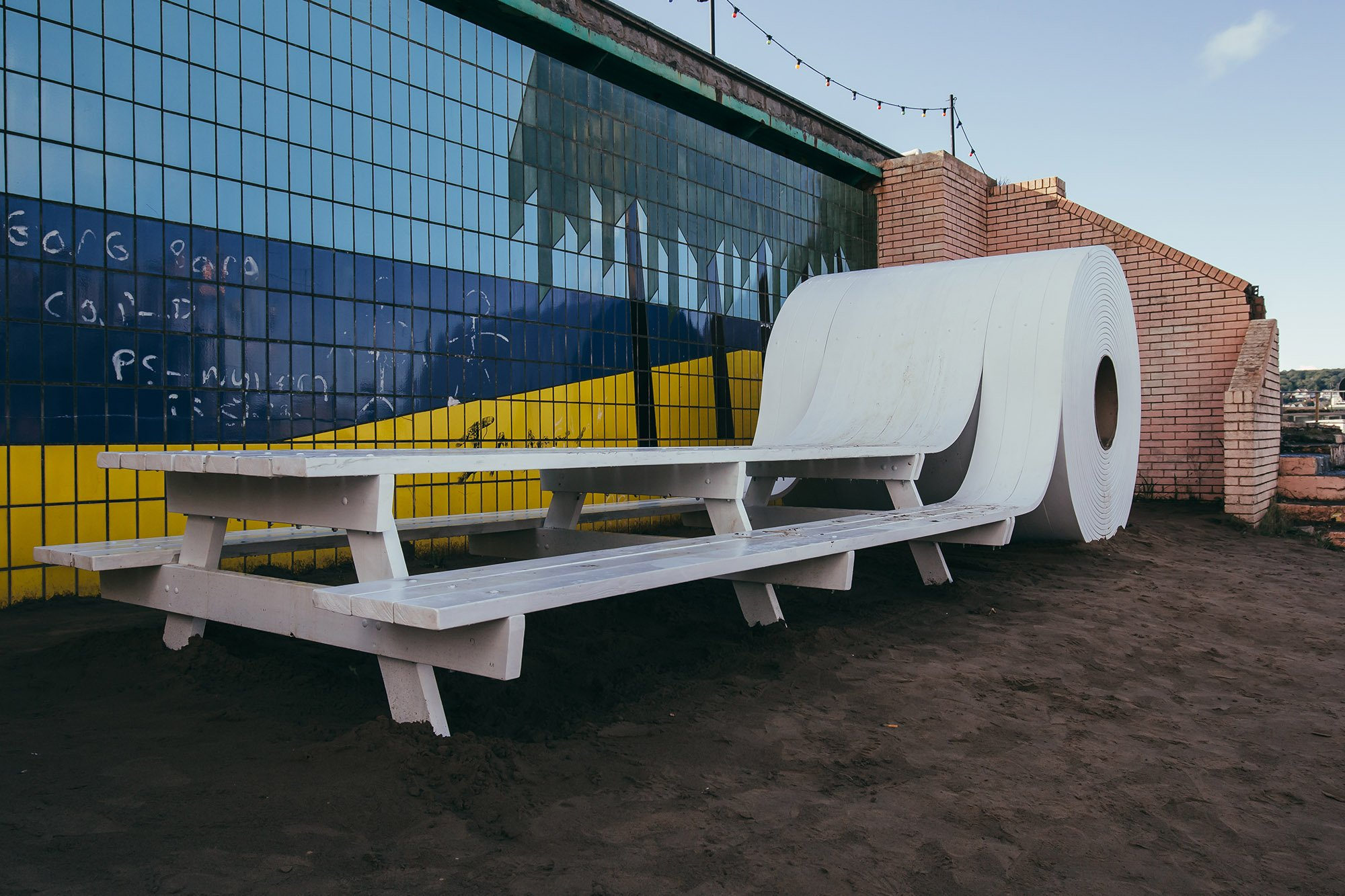 Banksy's Dismaland bench roll