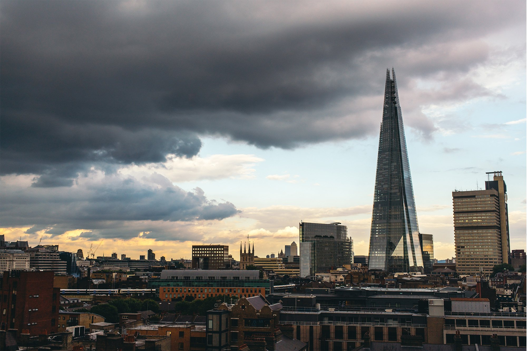 Testing the Sony A7R II – An evening view of The Shard in London with stormy clouds
