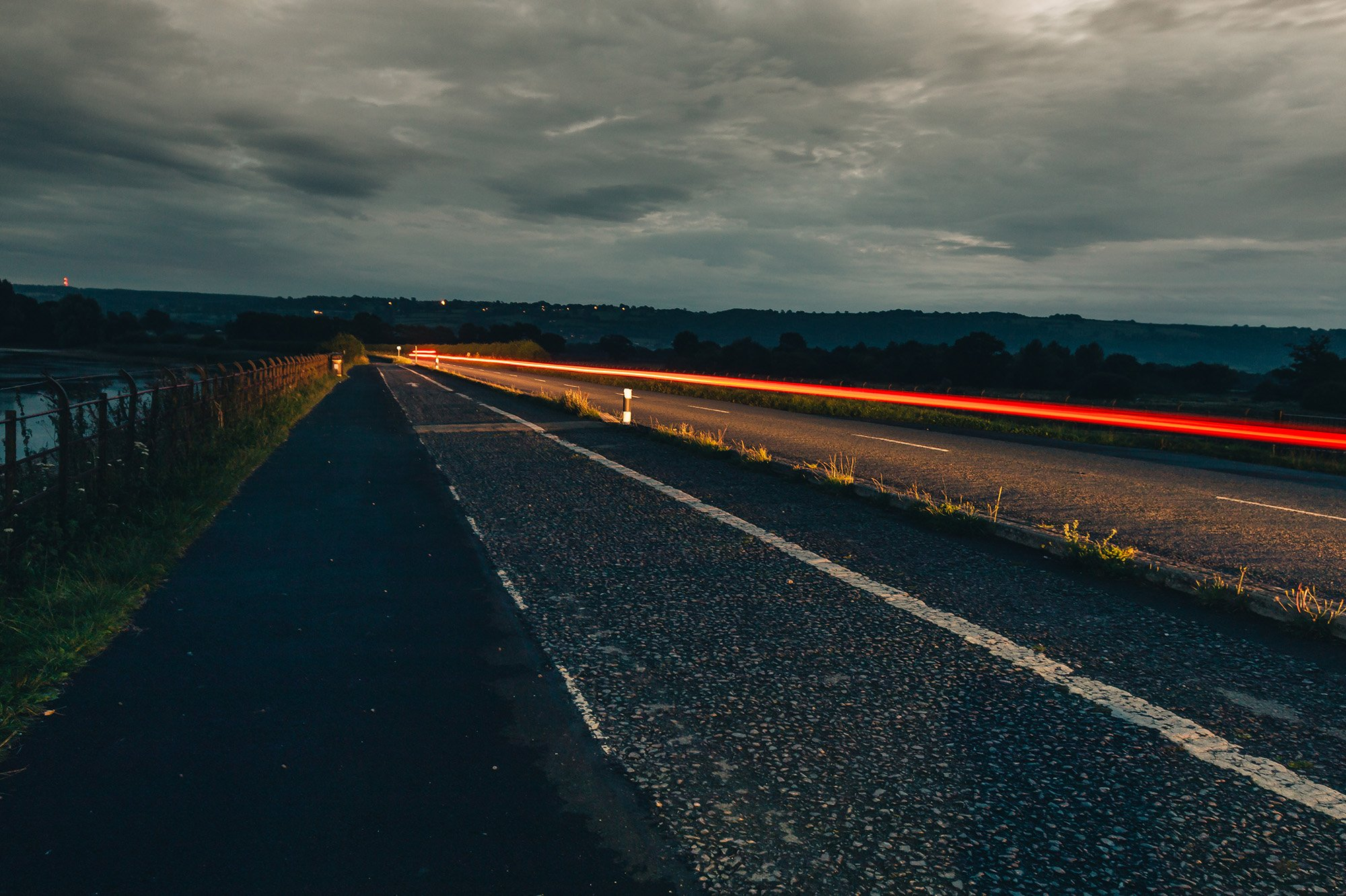 Long Exposure Night Photography Bristol Chew Valley Lake Road Car Trails