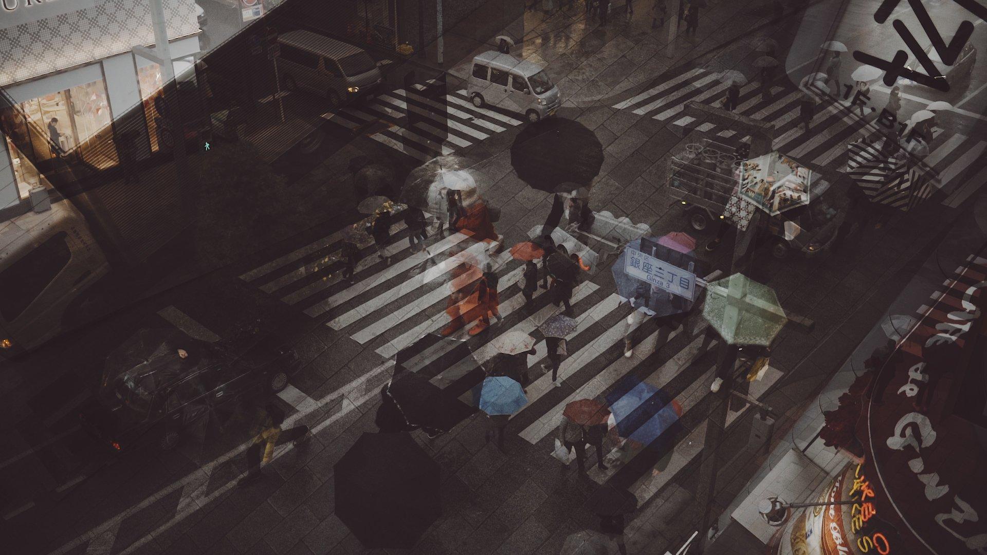 Tokyo Rain Cine Scenes Overlaid Shots Ginza Crossing