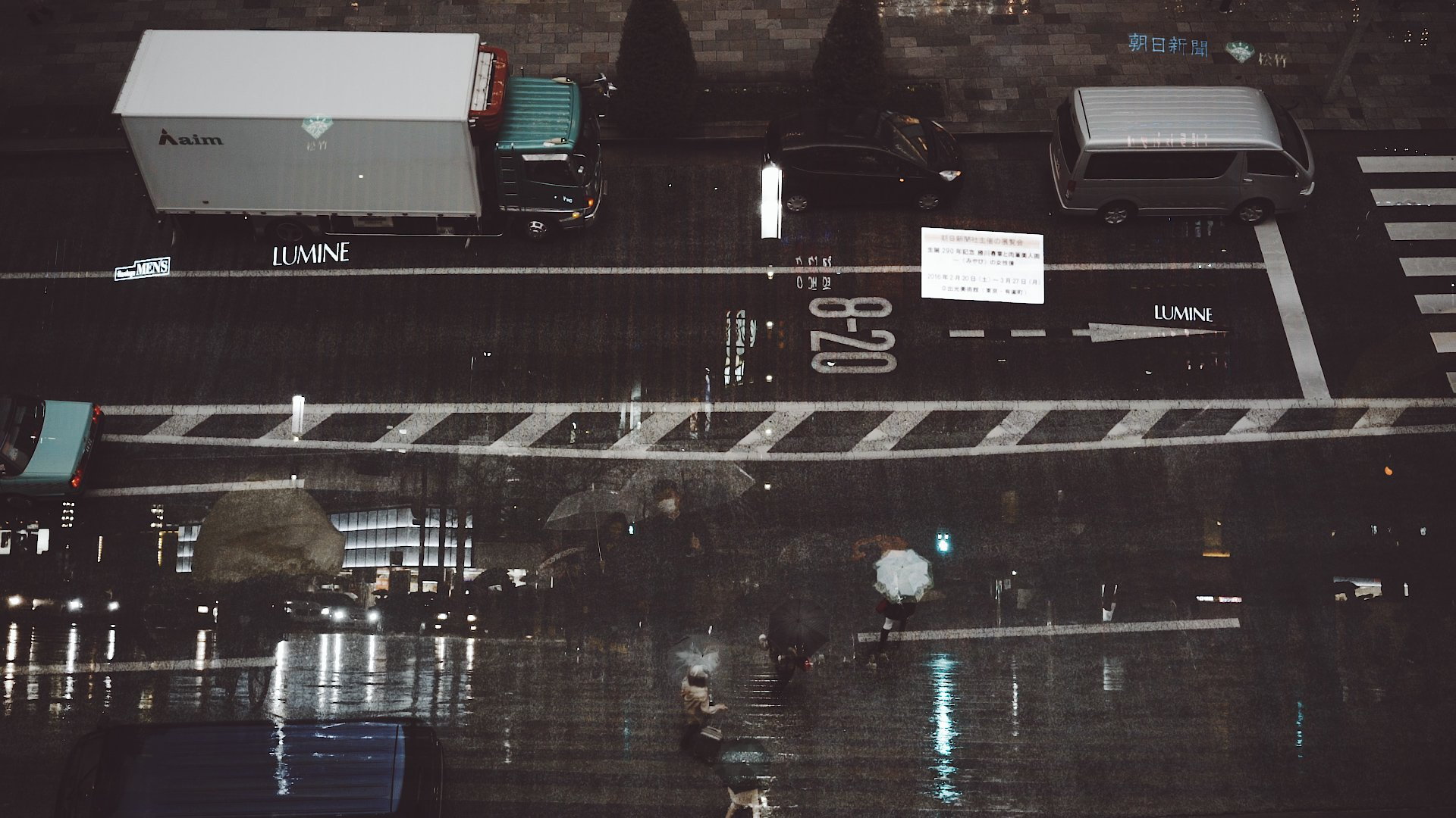 Tokyo Rain Cine Scenes Overlaid Shots Aerial