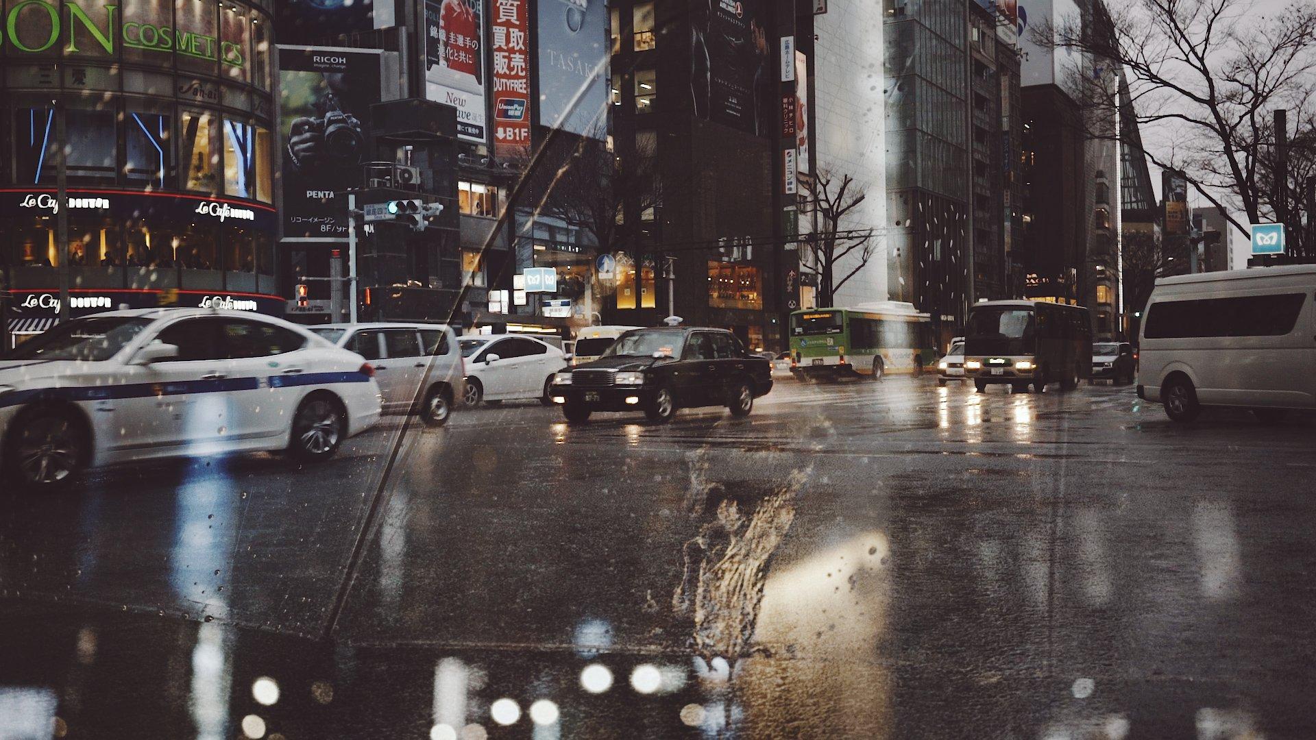 Tokyo Rain Cine Scenes Overlaid Shots Umbrella Road