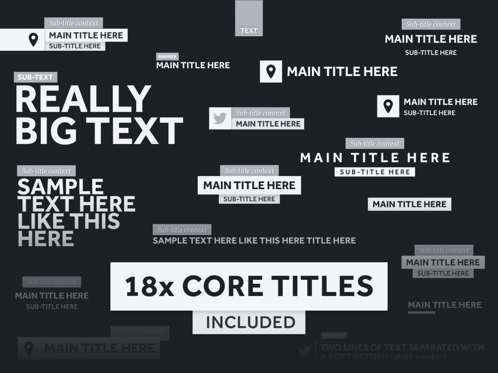 18x Core Titles Included — BASE TITLES Animated title templates for Premiere Pro